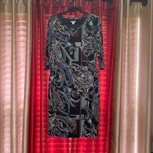 Black Multi-Color Midi Dress